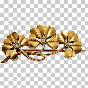 Four-leaf Clover Brooch Gold-filled Jewelry Art PNG