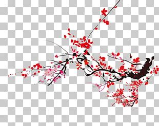 Plum Blossom Ink Wash Painting Chinoiserie PNG