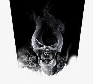 Black Smoke Skull Design PNG