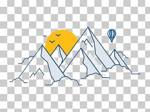 Mountain Sunrise Hot Air Balloon Illustration PNG
