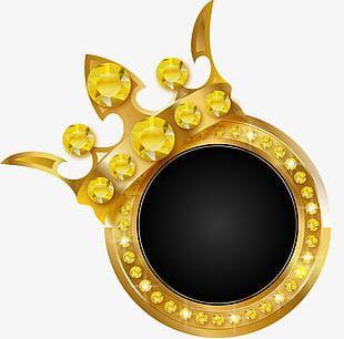 Golden Glitter Crown PNG