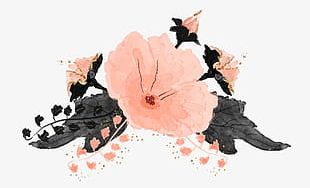 Pink Hand-painted Flowers Pink PNG