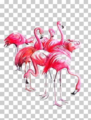 Flamingo Watercolor Painting Paper Art PNG