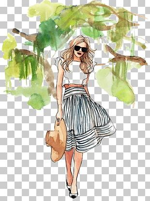 Drawing Fashion Illustration Watercolor Painting Sketch PNG