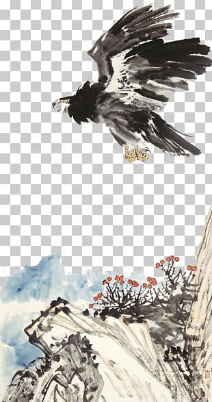 Eagle Hawk Ink Wash Painting PNG