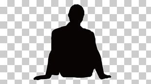 Silhouette Man Sitting PNG