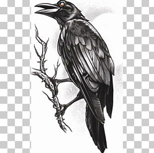 Sleeve Tattoo Gothic Fashion American Crow Abziehtattoo PNG