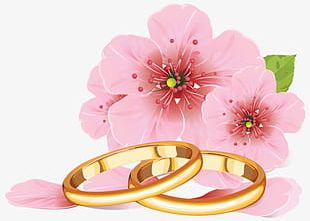 Pink Flowers And Golden Rings PNG
