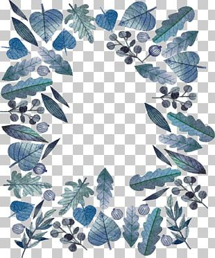 Blue Watercolor Leaves PNG