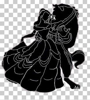 Belle Silhouette Beauty And The Beast Black And White PNG