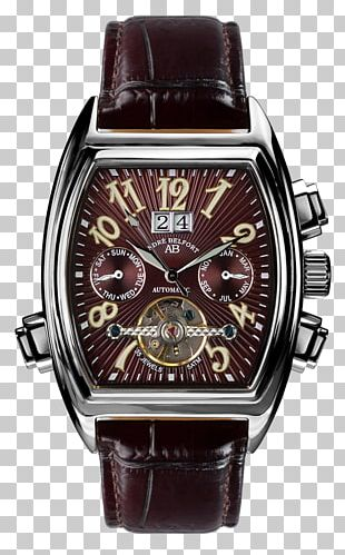 Brown Watch Strap Black Clock Face PNG