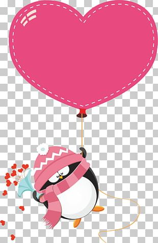 Penguin Love Stock Illustration Valentine's Day PNG