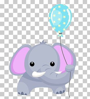 Elephant Balloon Birthday Greeting & Note Cards PNG