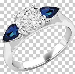 Sapphire Ring Brilliant Diamond Cut PNG