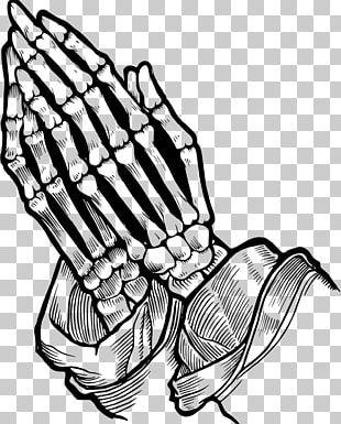 Praying Hands Prayer Bone Skull Drawing PNG