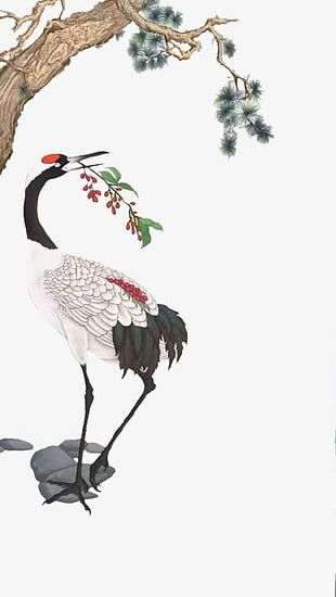 Hand-painted Red-crowned Crane PNG