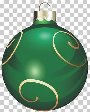 Transparent Green And Gold Christmas Ball PNG