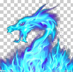 Dragon Fire Blue Illustration PNG
