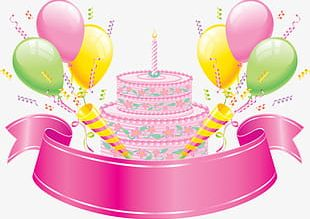 Pink Birthday Cake Design Elements PNG