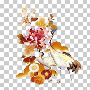 Floral Design Ink Wash Painting Shan Shui PNG