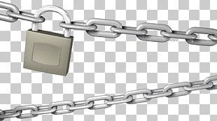 Chain Padlock Metal Silver PNG