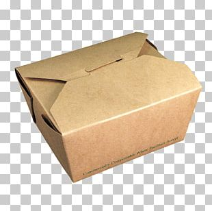 Take-out Box Kraft Paper Packaging And Labeling PNG