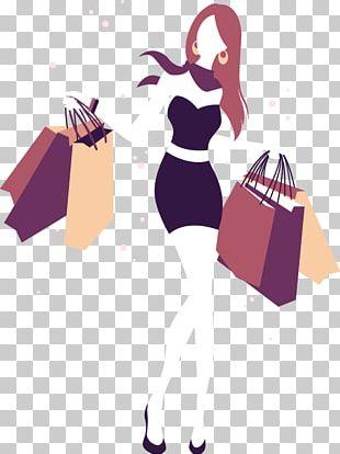 Shopping Girl Illustration PNG