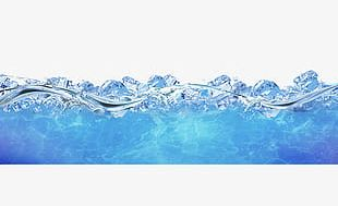 Blue Ice Floats On The Water Frame Texture PNG