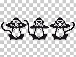 Three Wise Monkeys Figurine Black And White PNG