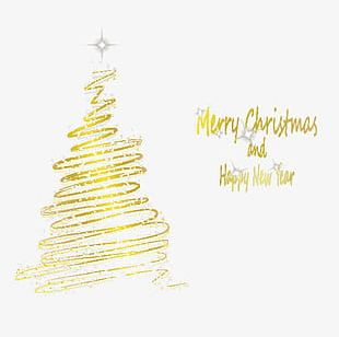 Golden Neon Christmas Tree PNG