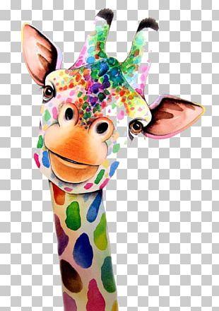 Giraffe Watercolor Painting PNG