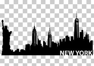 New York City New City Skyline Silhouette Mural PNG