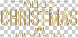 Merry Christmas And Happy New Year Text PNG