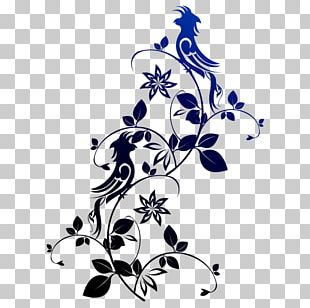 Bird Flower Pattern PNG