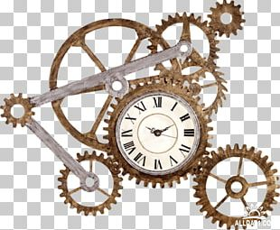 Gear Train Clock Table Wall Decal PNG