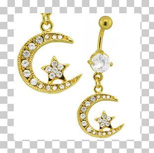 Locket Earring Body Jewellery Moon PNG