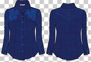 Blouse Cobalt Blue Sleeve Shirt Button PNG
