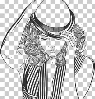 Woman With A Hat Line Art PNG