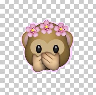 Emoji Wreath Sticker Monkey Flower PNG