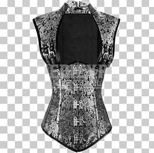 Corset Top Neck Sleeve Silver PNG