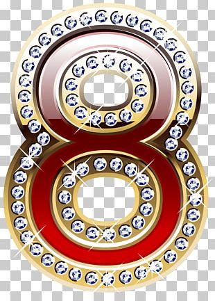 Gold And Red Number Eight PNG