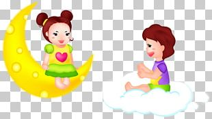Children Sitting On Clouds Illustration Moon PNG