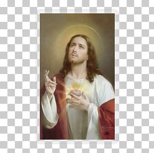 Immaculate Heart Of Mary Sacred Heart Holy Card Jesus Prayer PNG