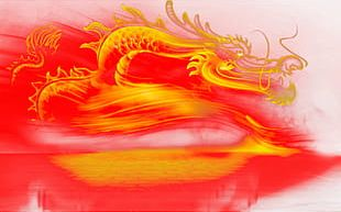 Cartoon Hand-painted Flames Dragon Deduction PNG