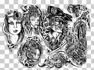 Sleeve Tattoo Flash Drawing Sketch PNG