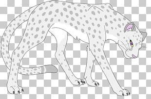 Big Cat Cheetah Drawing Line Art PNG