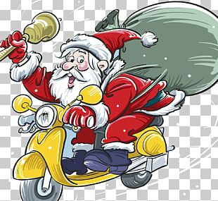 Santa Claus Scooter Christmas Gift Illustration PNG