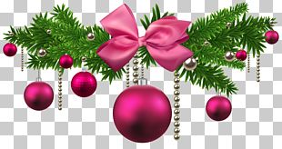 Pink Christmas Balls Decoration PNG
