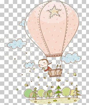 Cartoon Hot Air Balloon Child PNG