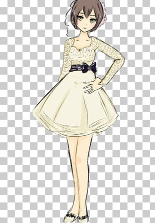 Brown Hair Gown Character Sketch PNG